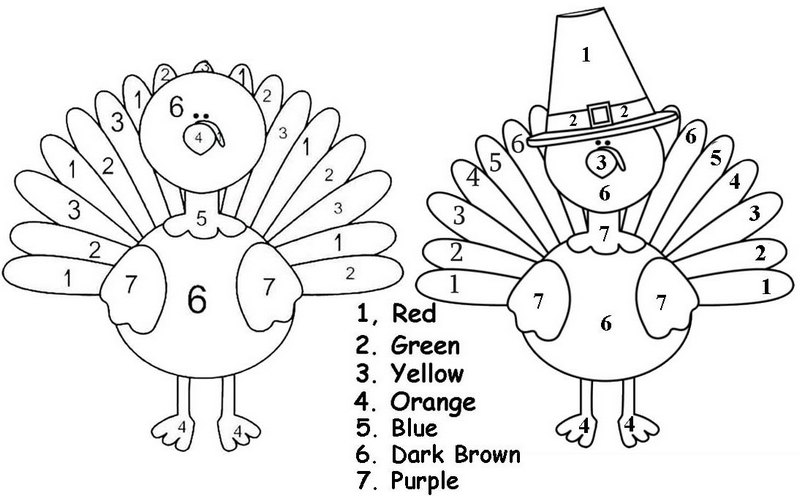 Fun Color By Number Thanksgiving Coloring Page