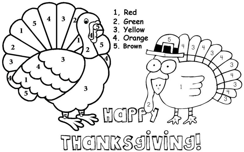 Happy Color By Number Thanksgiving for Kids
