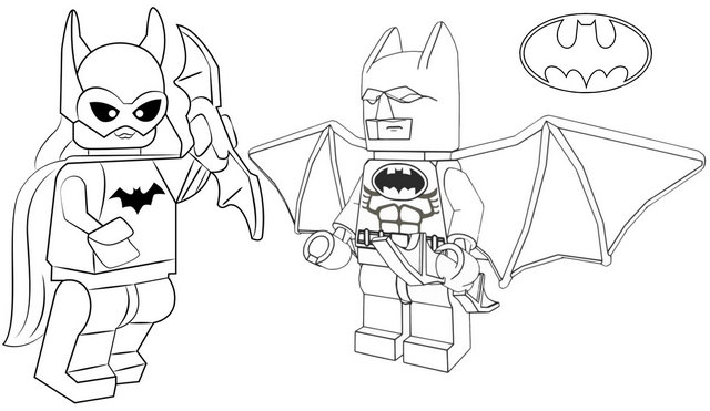 Lego Batman and Batgirl Coloring Page for Kids