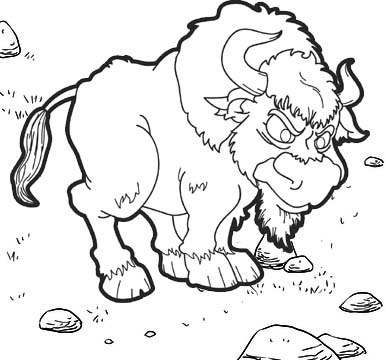 Male Yak Cartoon Coloring Page for kids