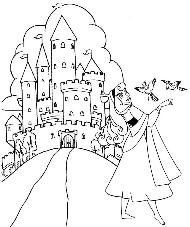 Princess Aurora Singing with Birds in front of Castle Coloring Page