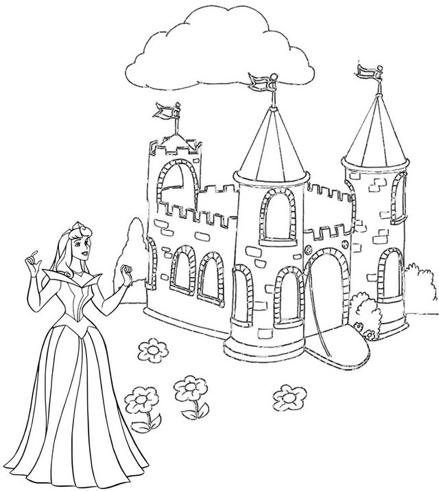 Princess Aurora Visiting to the Castle Coloring Page