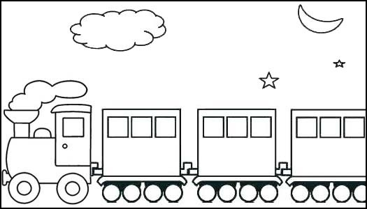 Simple Locomotive Coloring Page for Kids