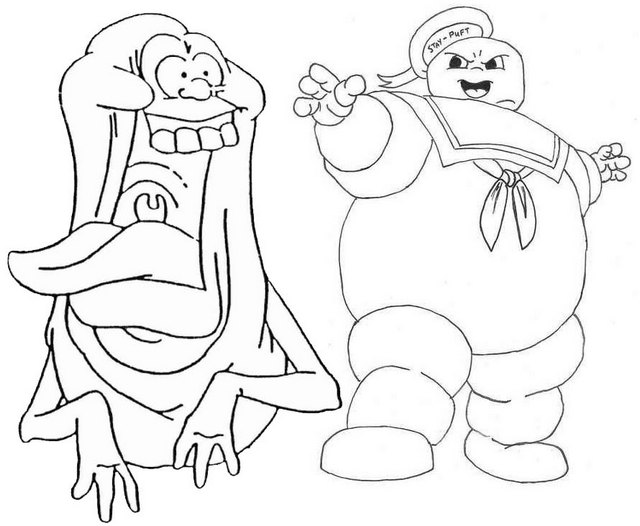 Slimer and Peter Coloring Page of Ghostbuster