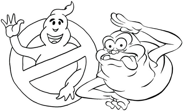 Winston and Slimer Coloring Page of Ghostbuster