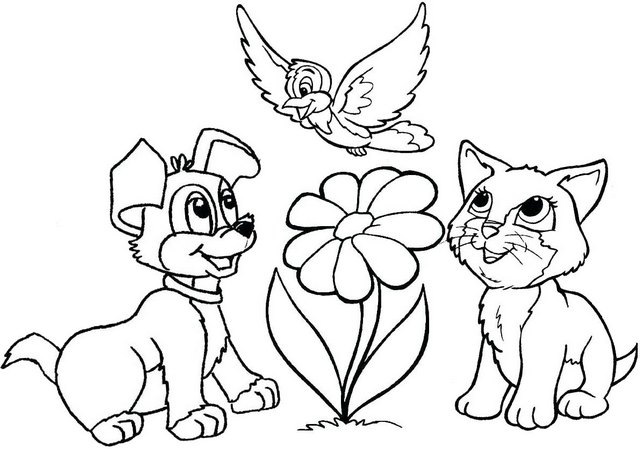 dog and cat playing together cartoon coloring page flower ...