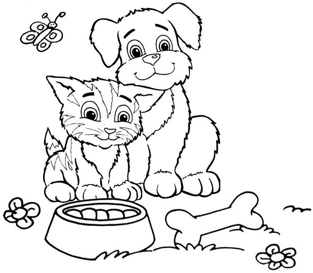 happy dog and cat ready to eat coloring page of animal friendship