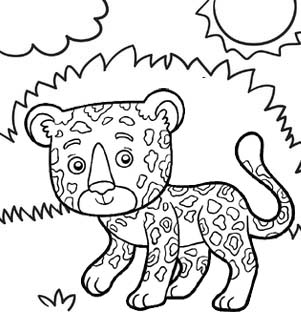 cartoon little jaguar coloring page