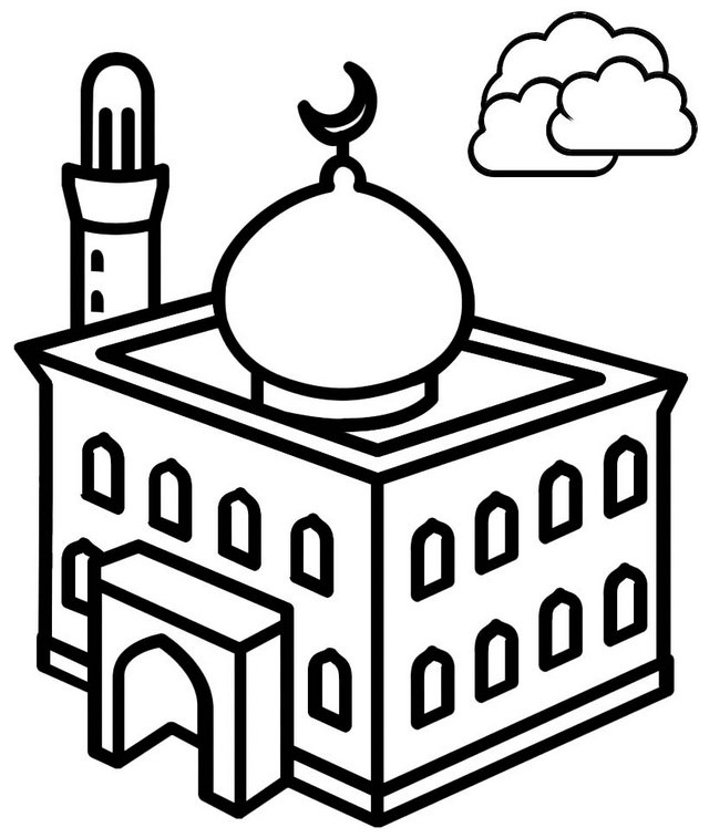Beautiful Mosque Coloring Page