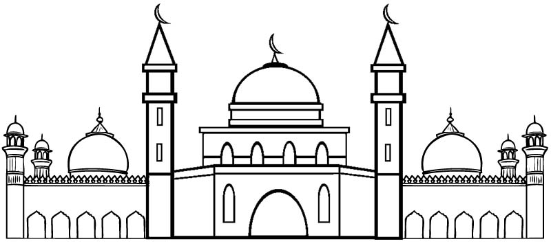 Flat Design Mosque Coloring Page
