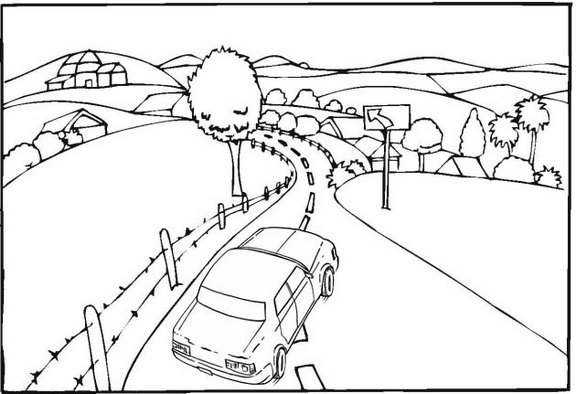 road to the beautiful village coloring page