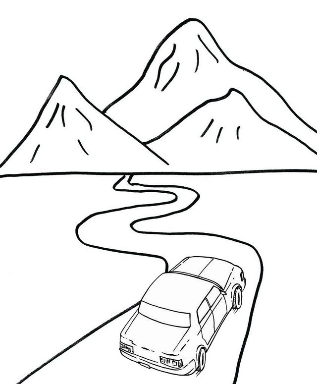 road to the mountains coloring page