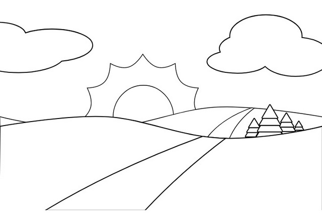road with beautiful scenes coloring page