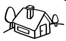 Beautiful Home in Village Cartoon Coloring Page