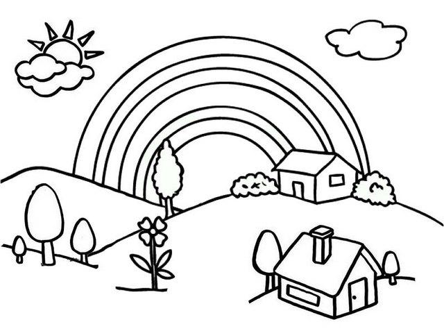 Beautiful Village Cartoon Coloring Page