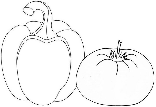 Fresh Bell Pepper and Tomato Coloring Page