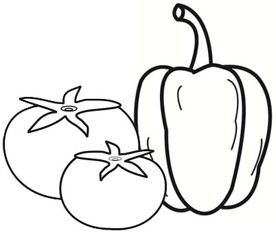 Green and Red Bell Pepper Tomato Coloring Page