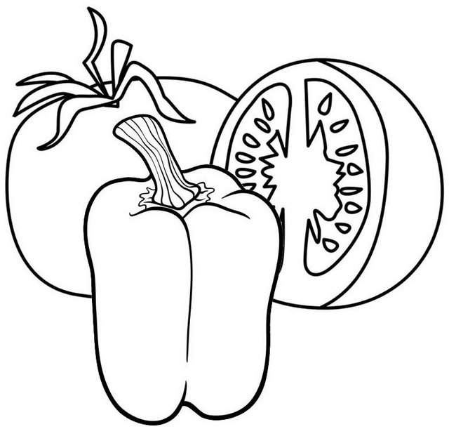 Healthy tomato and bell pepper coloring page