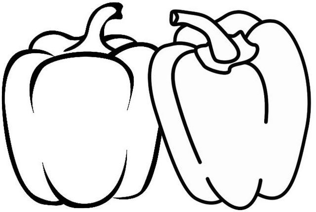 Simple Two Bell Peppers Coloring Page