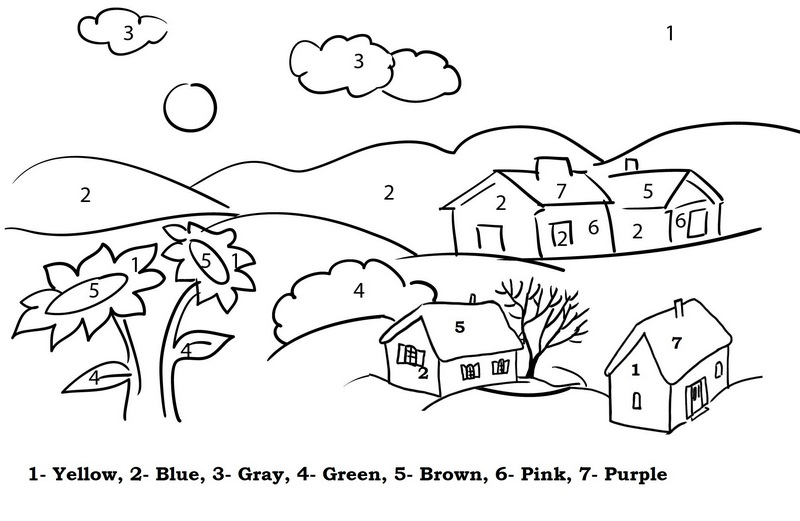 Village Color By Number Coloring Page