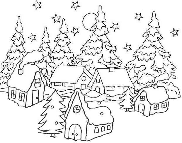 Village in Winter Coloring Page
