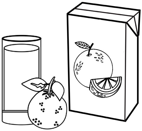 Best Orange Juice Box and Glass Simple Coloring Page for Kids