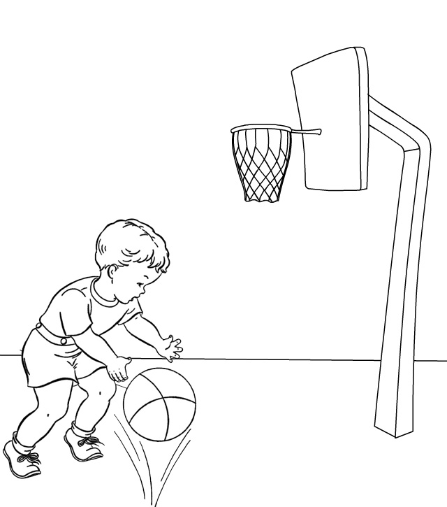 Child Playing Basketball Coloring Page