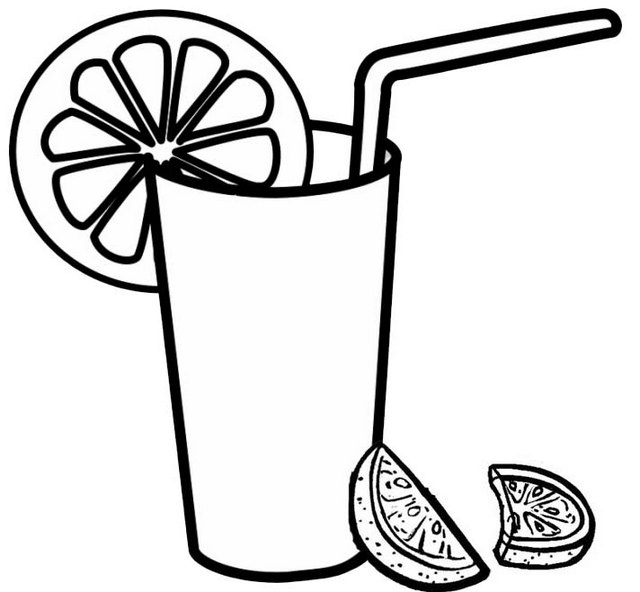Fresh Orange Juice in a glass Coloring Page