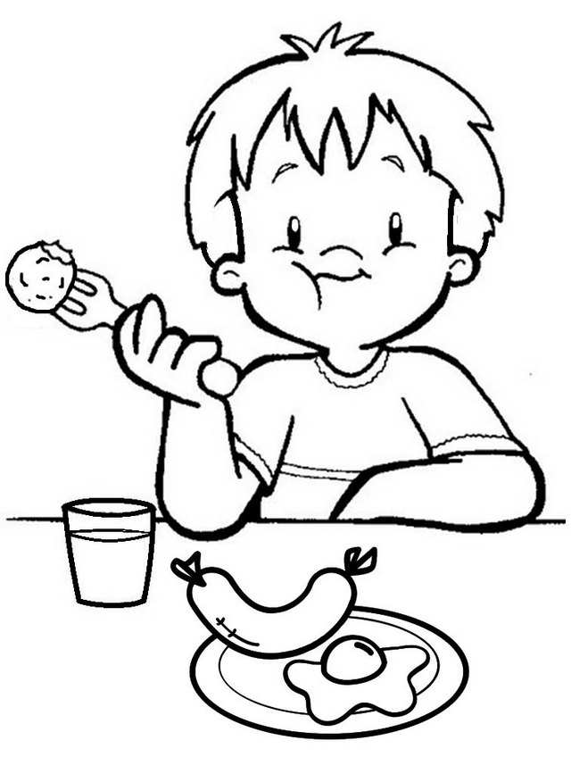 A Boy Having Breakfast Egg and Sausage Coloring Page