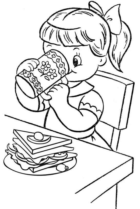 A Girl Having Breakfast with Milk and Sandwich Coloring Page