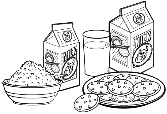 Breakfast Menu with Rice Milk and Bread Coloring Page