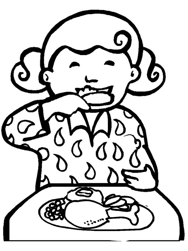 Girl Having Breakfast After Waking Up Coloring Page