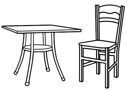 Kitchen Chair and Table Coloring Page