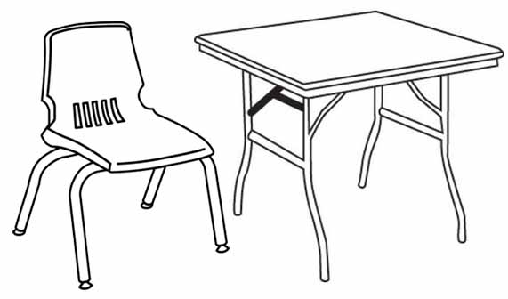 Lab Chair and Table Coloring Clipart Picture