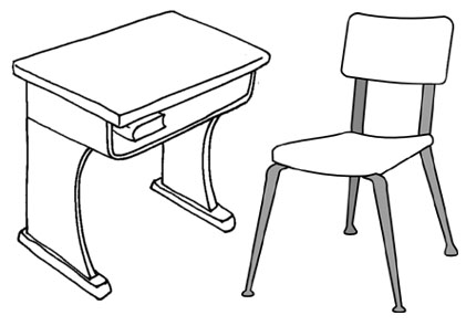 School desk and table classroom Clipart Picture