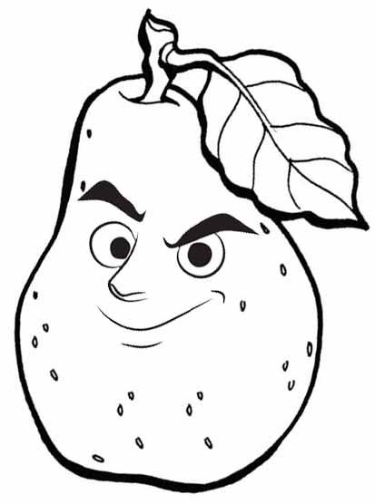 Smirking Guava Cartoon Coloring
