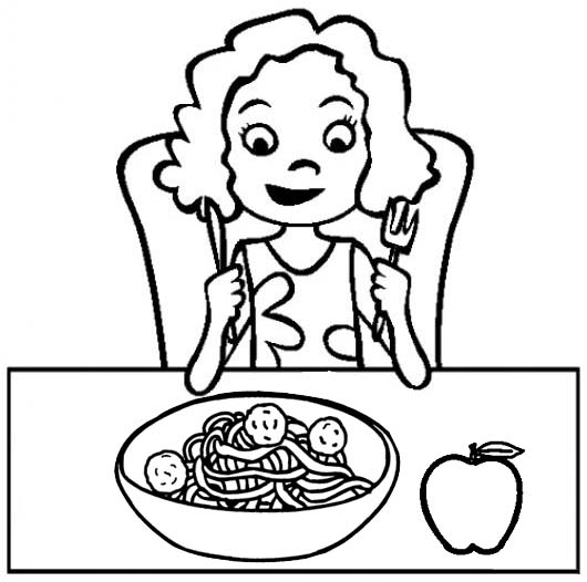 Woman Having Breakfast with Spaghetti and Apple Coloring Page